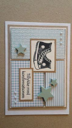Konfirmationskort. All stars sko. Blå nuancer.
