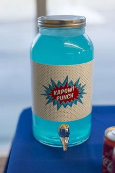 Fancy a drink at this Superheroes Birthday Party!? See more party ideas and share yours at CatchMyParty.com #superhero #drink