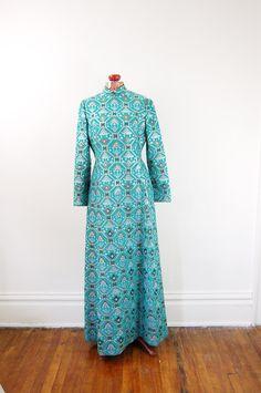 1970s Mollie Parnis Brocade Maxi Dress -