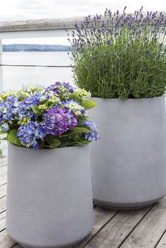 Hortensia og lavendel i lette og moderne fiberclay potter. Diy Garden Table, Diy Garden Fence, Garden Signs, Terrace Garden, Garden Pots, Slate Garden, Garden Bar, Herb Garden, Outdoor Planters
