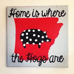 Hand painted Arkansas razorback polka dot canvas 12x12 on Etsy, $25.00