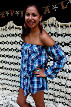 REVIVAL OOAK Upcycled Boho Top/Shirt, Off the Shoulder, Country Western Plaid, Small to Medium, Recycled, Repurposed, Eco Friendly Clothing. $32.99, via Etsy.