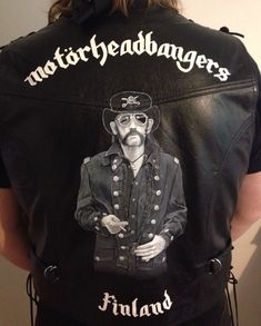 Custom painted leather vest is ready! Are you ready for Motörheadbangers Ball? #nadjasart #lemmykilmister #lemmy #handpainted #custommade #commission #artist #art #motorhead #motörhead #motörheadbangers #motorheadbangers #borntoloselivetowin #leather #leatherjacket #leathervest