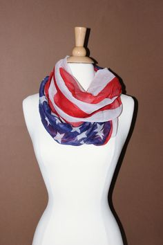 American Flag Infinity Scarf Red White Blue Infinity by AurielleCo, $14.80