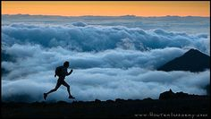 Running in the crater of Haleakala, Maui, Hawaii.