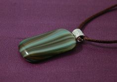 Brown and Aqua Fused Glass Pendant; Fused Glass Necklace with Bands of Brown and Aqua by UniqueGlassTreasures on Etsy