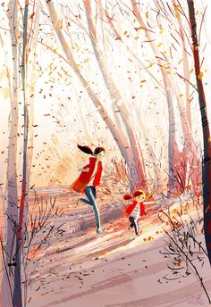 Pascal Campion There is something so touching about this illustration Illustration Inspiration, Children's Book Illustration, Autumn Illustration, Mother Daughter Art, Pascal Campion, Arte Fashion, Quick Sketch, Autumn Art, Autumn Leaves