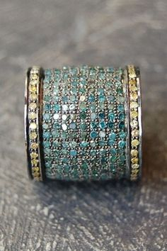 Blue diamond cigar band ring by Rona Pfeiffer. #bijoux #bijouxfantaisie #bijouxcreateur #jewelry #collier