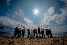 Matt Shumate Photography  Kauai - Hawaii Wedding dramatic wedding party portrait on the beach