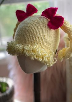 Super adorable hat Cabbage doll hat Cabbage Dolls, Knit Or Crochet, Crochet Hats, Cabbage Patch Hat, First Photo, Arm Warmers, Hand Knitting, Knitted Hats, Hot Pink