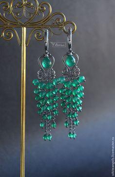 """Купить Серьги """"Fine GREEN"""" - зеленый, изумрудный, серьги ручной работы, длинные серьги"""