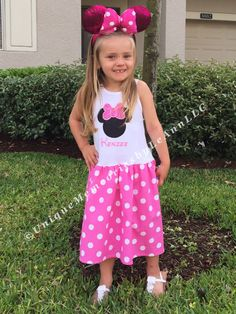 Girls Disney Minnie Mouse inspired tank top dress - Pink skirt, white polka dots & top, Disney trips, Birthdays, Cruises, Parties, Gifts by UniqueMemoriesLeAnn on Etsy