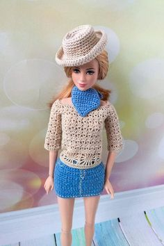 Barbie doll clothes. Cowboy style outfit / Texas hat / Wild