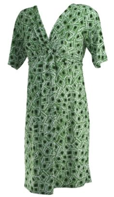 Green A Pea in the Pod Short Sleeve Printed Career Maternity Dress (Gently Used - Size Large) - Motherhood Closet - Maternity Consignment