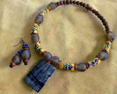 African Beads with Wood  Necklace  and Earrings by stoneandbone, $60.00