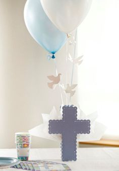 Cross Balloon Centerpieces for Communion, Baptism for Boys. Set To Celebrate with Baptism Balloon Centerpieces, Christening Balloons, Communion Party Supplies Christening Table Decorations, Boy Baptism Centerpieces, Balloon Centerpieces, Balloon Decorations, Christening Balloons, Christening Party, Baptism Party, Baptism Ideas, Decoration Communion