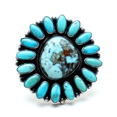*Size Adjustable Hand Crafted Traditional Native American Ring Sterling Silver Signed *B Johnson Authentic Carico Turquoise