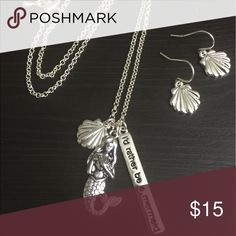 I'd Rather be a Mermaid Necklace & Earrings #JEWELRY #POSHMARK #FASHION #DIVA #STYLE  #BLING #FASHIONISTA #COWGIRL #CITYGIRL #BEACHGIRL #WESTERN #CHIC ❤️🛍🌈🦄💍💅💄💋 Jewelry Necklaces