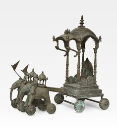 Attualmente nelle aste di #Catawiki: Large bronze sculpture of a chariot pulled by two elephants with mahouts, Jal...