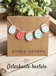 Basteln mit Kindern: DIY Osterkarte, Crafts with children: DIY Easter cards, crafting simple Diy Easter Cards, Easter Crafts For Kids, Diy Cards, Diy For Kids, Children Crafts, Diy Gifts Easter, Diy Easter Gifts For Friends, Anniversary Crafts, Traditional Anniversary Gifts