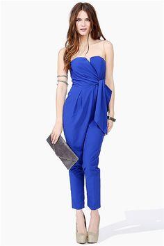 strapless electric blue Harem Jumpsuit