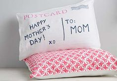 Send mom a fun, and creative, personalized post card pillow for this coming Mother's Day Using Martha Stewarts Crafts Acrylic paints!
