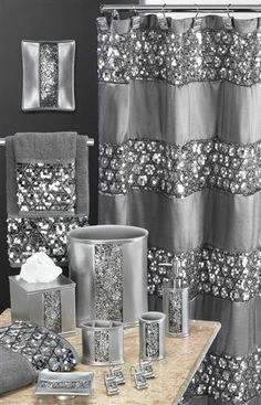 Popular Bath Sinatra Silver Shower Curtain Shower Decor Curtain Home, NEW Silver Shower Curtain, Silver Bathroom, Bling Bathroom, Glitter Bathroom, Hall Bathroom, Bathroom Ideas, Grey Bathroom Decor, Modern Bathroom, Parisian Bathroom