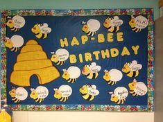 bee welcome bulletin board Preschool Birthday Board, Birthday Bulletin Boards, Birthday Wall, Bee Bulletin Boards, Birthday Ideas, Daycare Crafts, Preschool Crafts, Class Birthdays, Toddler Classroom