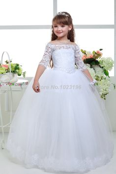 Find More Flower Girl Dresses Information about 2016 Hot Bateau Off  Shoulder Lace Tulle Flower Girl Dresses With Sleeves Floor Length White Holy Communion Dresses Ball Gown,High Quality dress 2 girls,China girls dresses size 7 Suppliers, Cheap dresses girls size 8 from VougeMarket on Aliexpress.com