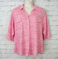Womens Plus SONOMA Pink Space Dye Knit V-Neck Button Front ¾ Sleeve Top Size 3X #Sonoma #KnitTop #Casual