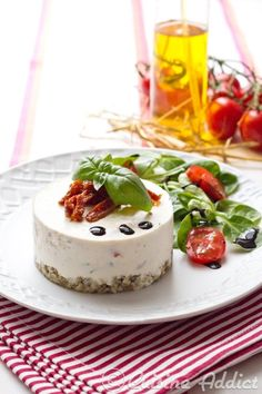 Savory cheesecake with tomato and basil
