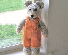 Hand Knit Teddy Bear in Orange Overalls Baby Toy by VeryCarey  verycarey.etsy.com