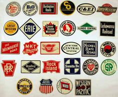 Tin railroad logos such as these were offered in the 1950s and '70s in cereal boxes.