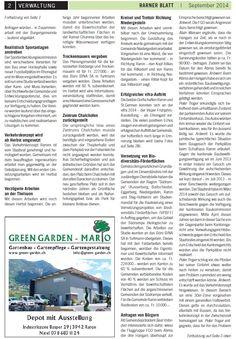 Das Rarner Blatt vom Monat September mit Green Garden Mario. Liebe Grüsse aus dem sonnigen Wallis.