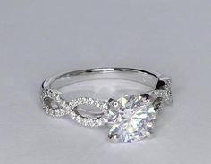 My dream Ring Infinity Twist Micropave Diamond Engagement Ring in White Gold Wedding Engagement, Diamond Engagement Rings, Wedding Bands, Wedding Ring, Solitaire Rings, Infinity Band Engagement Ring, Diamond Promise Rings, Solitaire Diamond, Engagement Ideas