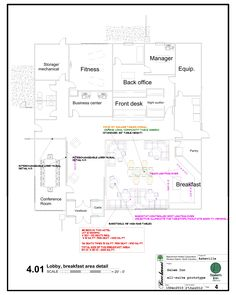 Lobby core for the conventional and all-suite version is similar. Kitchen/pantry area will be modified to accommodate equipment for the fresh-baked continental breakfast. Hotel Franchise, Continental Breakfast, Vestibule, Business Centre, Kitchen Pantry, Front Desk, Core, Fresh, Asheville