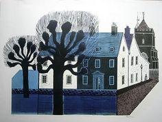 'Village Street' - Linocut by Robert Tavener Gravure Illustration, Graphic Illustration, Graphic Prints, Art Prints, Block Prints, Wood Engraving, Linocut Prints, Print Artist, Illustrations