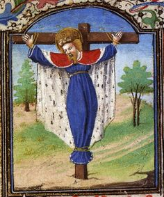 St Wilgefortis/Kümmernis/Uncumber/Liberata/Ontkommer/Débarras. Medieval saint, adored mainly by women who seeked relief from their marital and domestic (=male-caused) drudgery. I know several churches where pictures of Her were hidden away. She is the Wild Woman (Burgundy, c. 15th century).