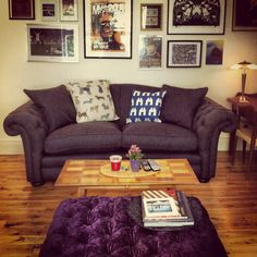 My DFS Loch Leven sofa and silly purple velvet pouffe