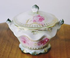 This item is unavailable Sugar Spoon, Sugar Bowl, Candy Bowl, Cream And Sugar, Noritake, Pink Roses, Vintage Antiques, My Etsy Shop, Hand Painted