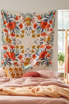 Let your space bloom with this symmetrical floral tapestry featuring vivid colors and fringe-trimmed edges. Available exclusively at UO. **Content + Care** - Cotton - Machine wash - Imported **Size** - Dimensions: x Tapestry Bedroom, Wall Tapestry, Tapestry Floral, Colorful Tapestry, Tapestry Headboard, Tapestry Wall Hanging, Urban Outfitters, Uni Room, Room Themes