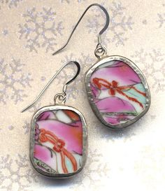Old Pottery Shards Sterling silver Earrings with red by Annaart72, $21.00