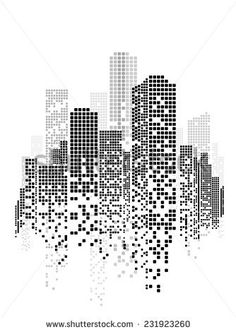 Vector Design Building and City Illustration at night, Urban cityscape