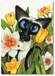 Siamese Cat Spring Ladybugs Tulips Daffodils Easter ArT  - Art Prints & ACEOs by Bihrle