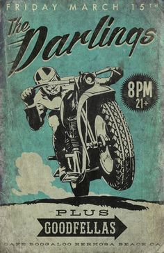 The Darlings vintage Motocycle poster