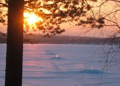 Miekojärvi - Arctic Circle lake in Pello in Lapland, in winter