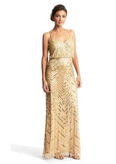 For something with sparkle, this isn't that bad!   Adrianna Papell - Long Blouson Sequin Dress