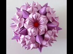 5 petals origami flower #1 - YouTube