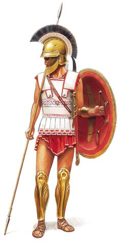 Hoplite infantryman during the Peloponnesian war. The shift towards lighter equipment is evident with the new helmet. Some Hoplite infantry went into battle without any form or armour instead choosing mobility over protection.