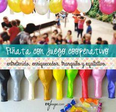 Una piñata diferente donde los niños cooperen para conseguir un objetivo común. Un juego cooperativo para una fiesta de cumpleaños divertida!